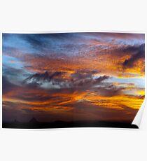 Glasshouse mountains Sunset Poster