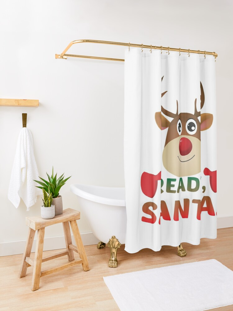 Alternate view of Christmas Rudolph, Ready Santa, Reindeer Gift. Shower Curtain