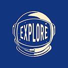 Blue Explore Space Astronaut Helmet by orionlodubyal