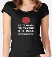 Mothers Are the Heart of the Family, Maori Proverb (black background) Women's Fitted Scoop T-Shirt