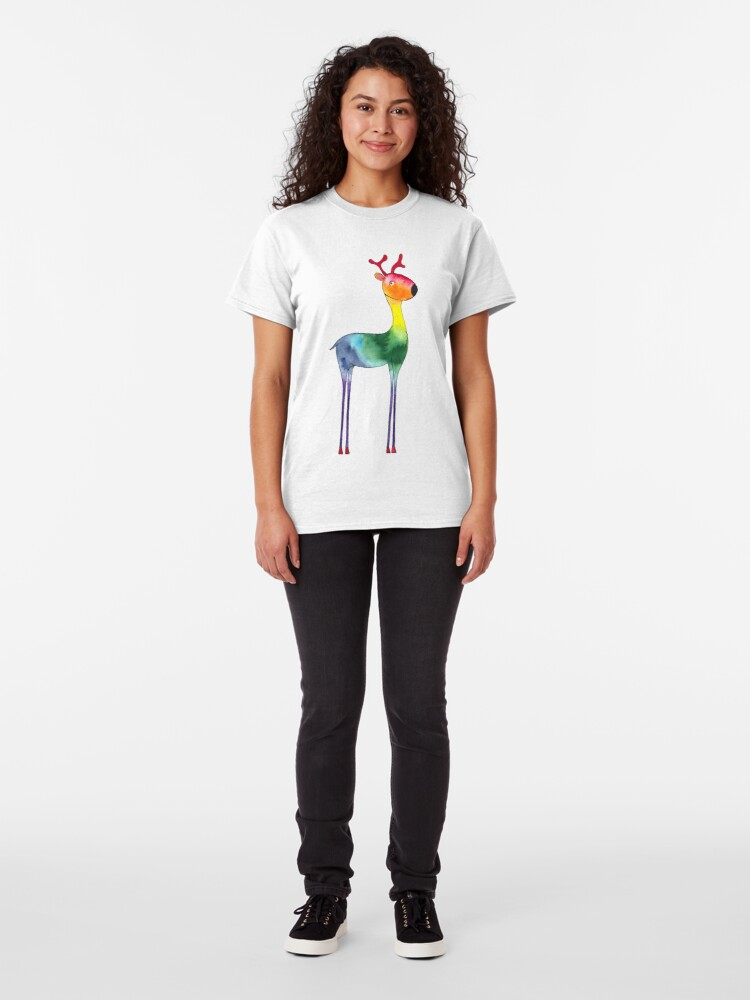 Alternate view of Rainbow reindeer | Christmas | watercolor painting Classic T-Shirt