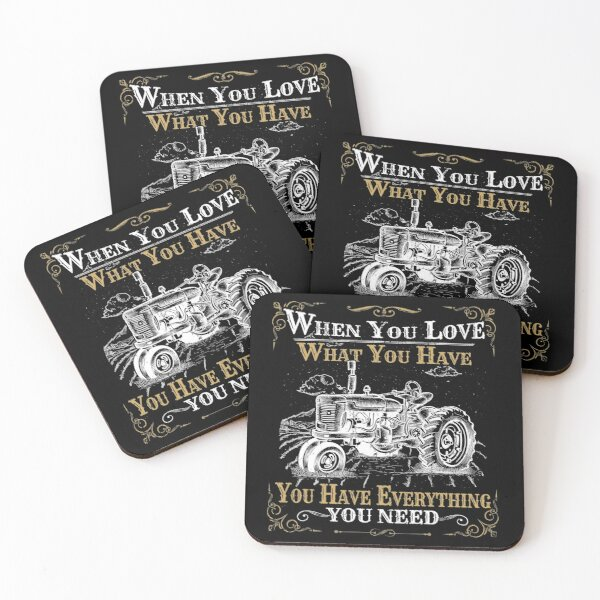 Tractor saying vintage retro farmer acker gift Coasters (Set of 4)