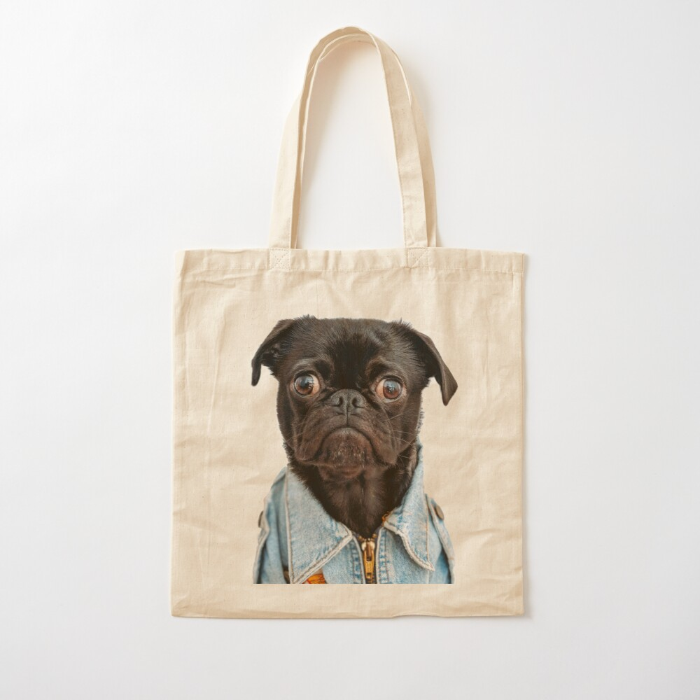 Cute Black Pug Dog Cotton Tote Bag