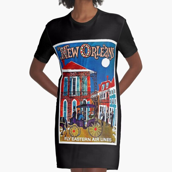 EASTERN AIRLINES; Fly to New Orleans Advertising Print Graphic T-Shirt Dress