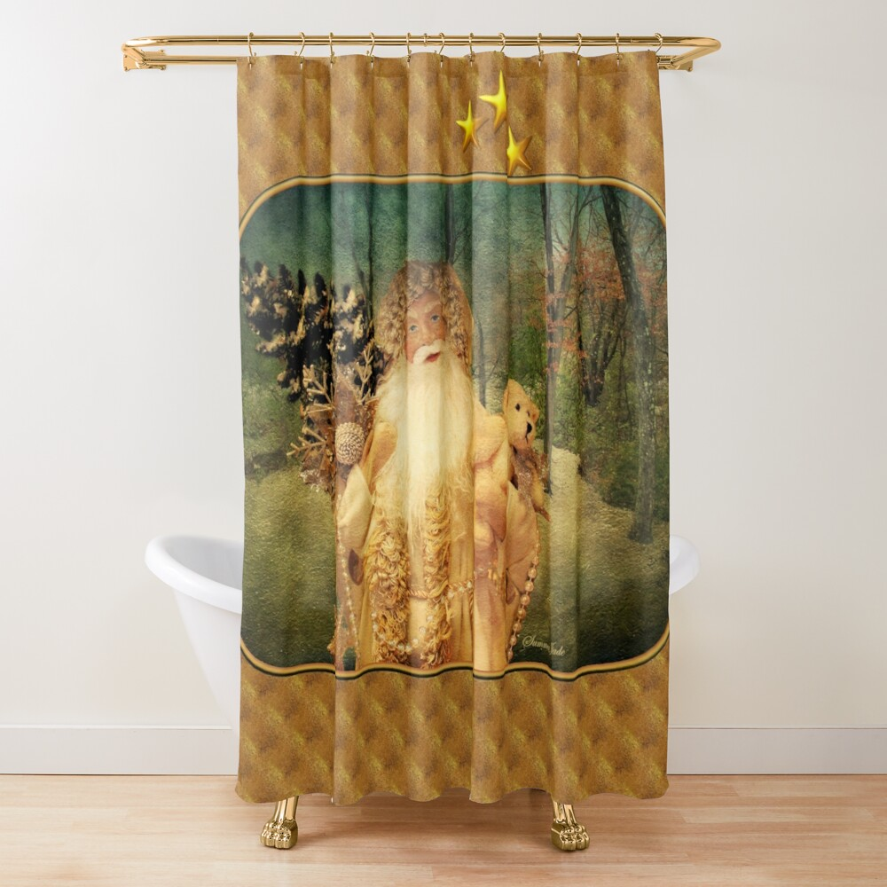 Victorian Christmas ~ White Santa Shower Curtain