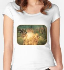 Victorian Christmas ~ White Santa Fitted Scoop T-Shirt