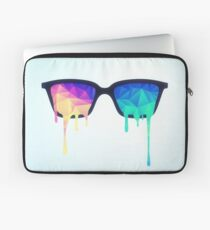 Psychedelic Nerd Glasses with Melting LSD/Trippy Color Triangles Laptop Sleeve