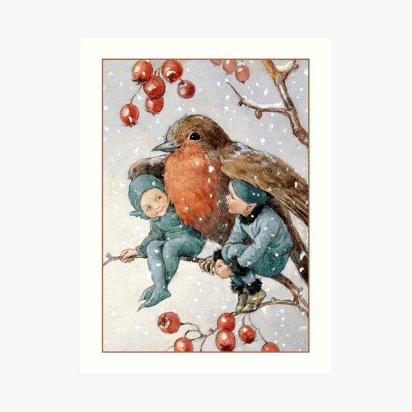 Christmas Elves Sheltering with a Robin - Margaret Tarrant Art Print