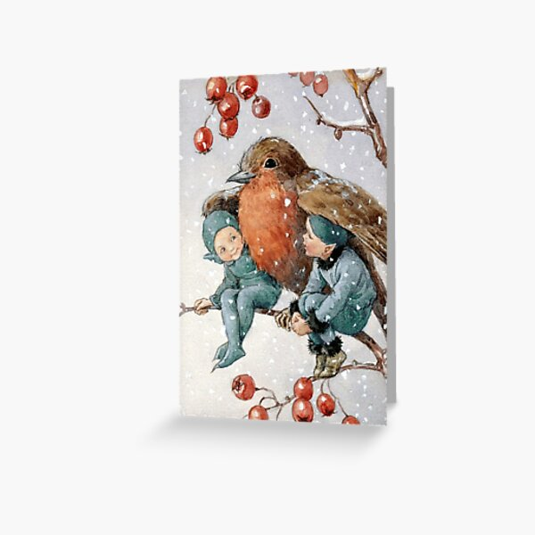 Christmas Elves Sheltering with a Robin - Margaret Tarrant Greeting Card