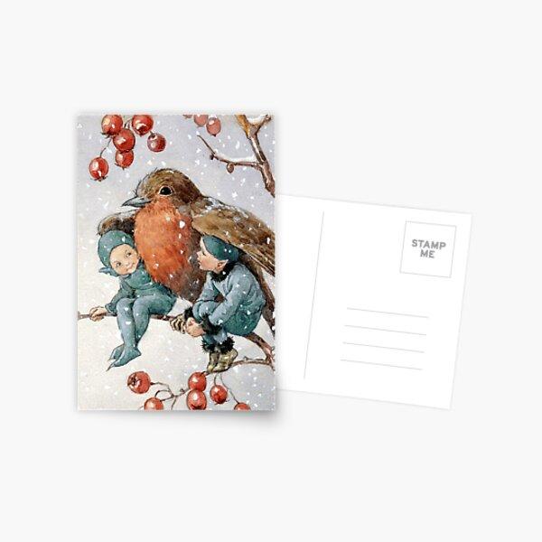 Duendes navideños refugiados con un petirrojo - Margaret Tarrant Postal