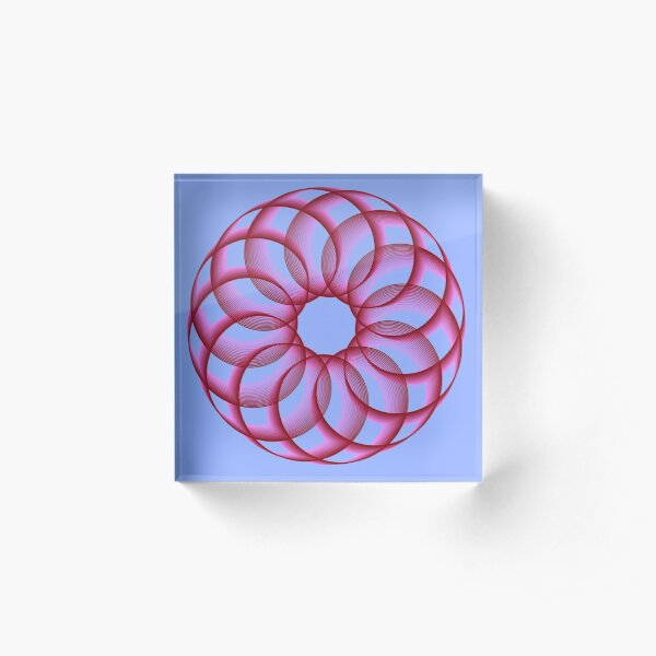 Spirograph with Red Pink Blue Acrylic Block