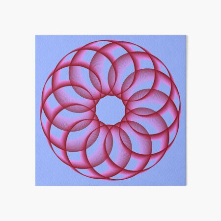 Spirograph with Red Pink Blue Art Board Print