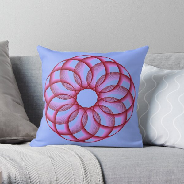 Spirograph with Red Pink Blue Throw Pillow