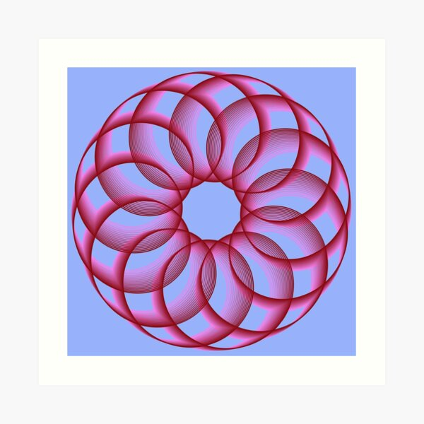 Spirograph with Red Pink Blue Art Print
