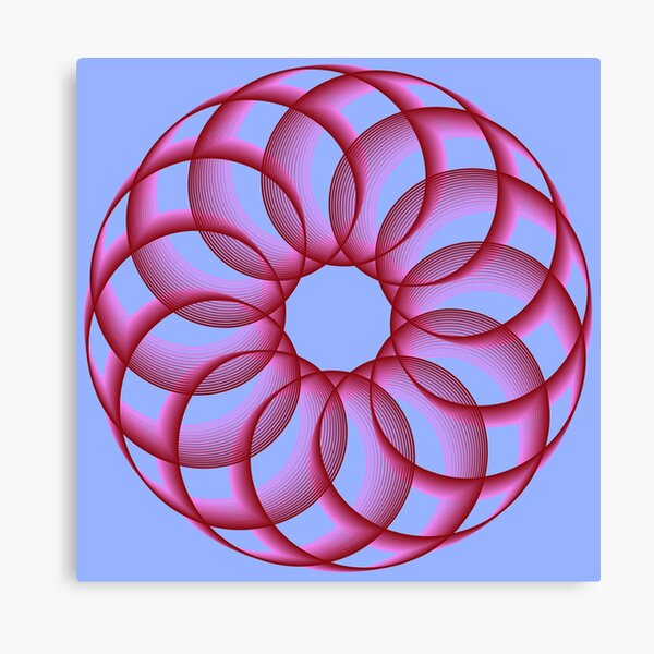 Spirograph with Red Pink Blue Canvas Print