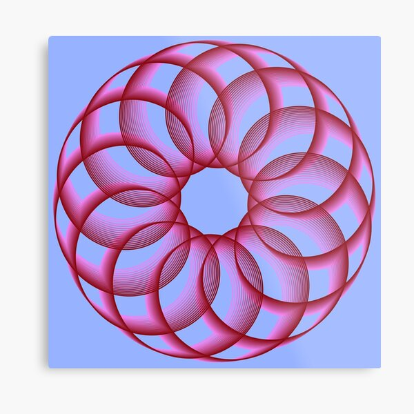 Spirograph with Red Pink Blue Metal Print