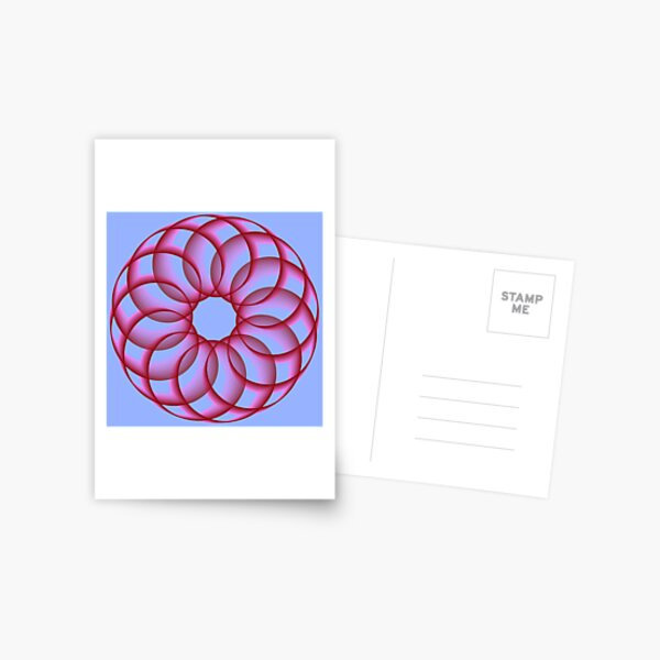 Spirograph with Red Pink Blue Postcard