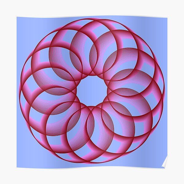 Spirograph with Red Pink Blue Poster