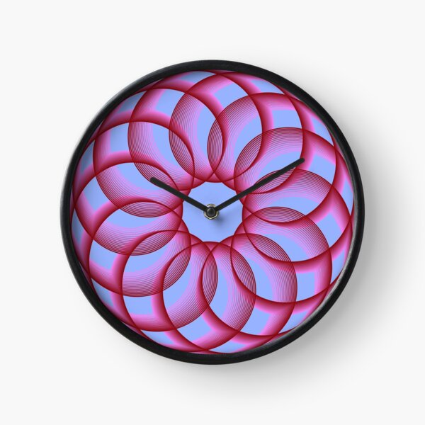 Spirograph with Red Pink Blue Clock