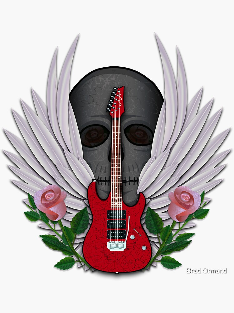 Guitar and Wings with Skull and Roses by BradOrmand