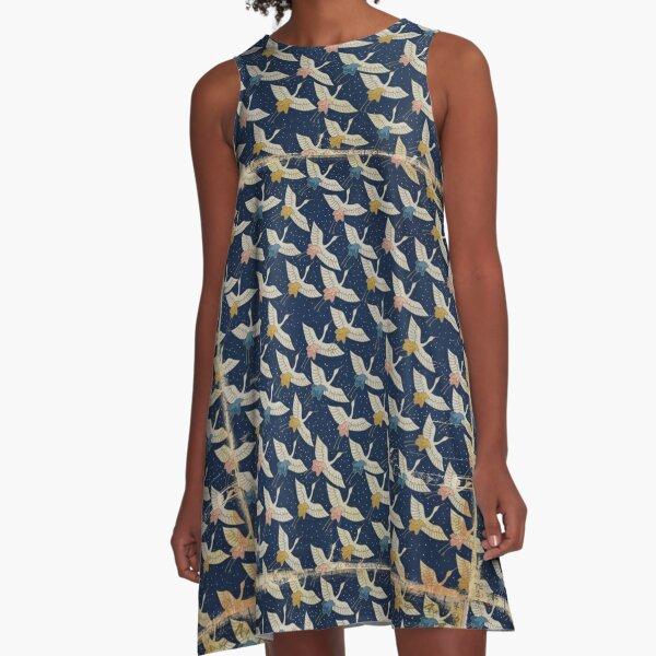 Vintage Japanese Paper Texture Birds A-Line Dress