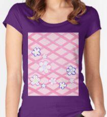 Baby Pink Garden Flowers Women's Fitted Scoop T-Shirt