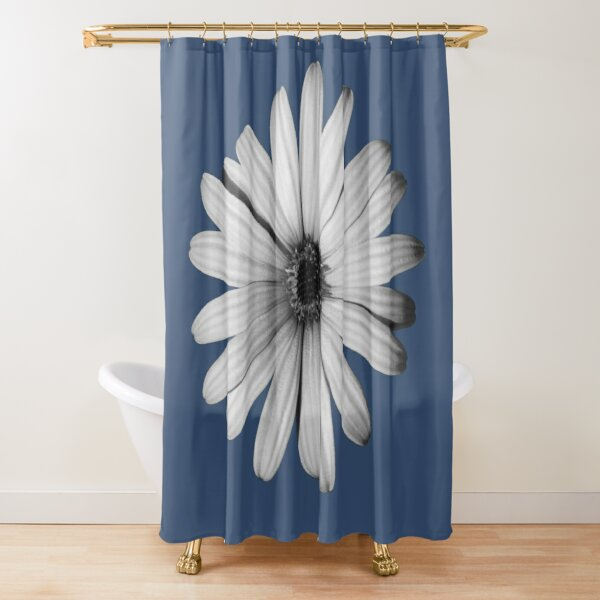 Daisy Black and White Shower Curtain