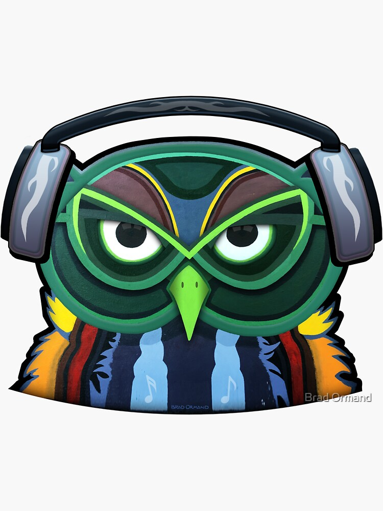 Green Owl with Headphones by BradOrmand