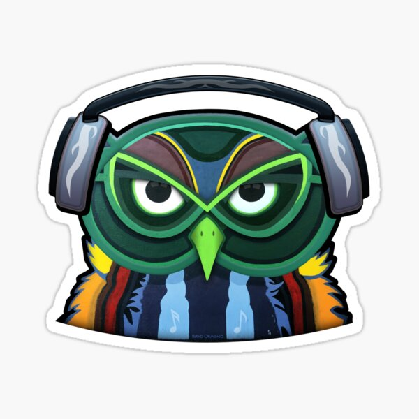 Green Owl with Headphones Sticker