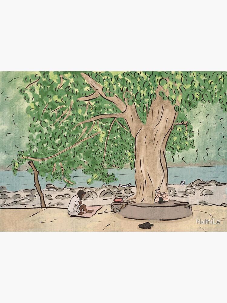 Baba sitting under a tree - Ram Jhula, Rishikesh by NaliniLe
