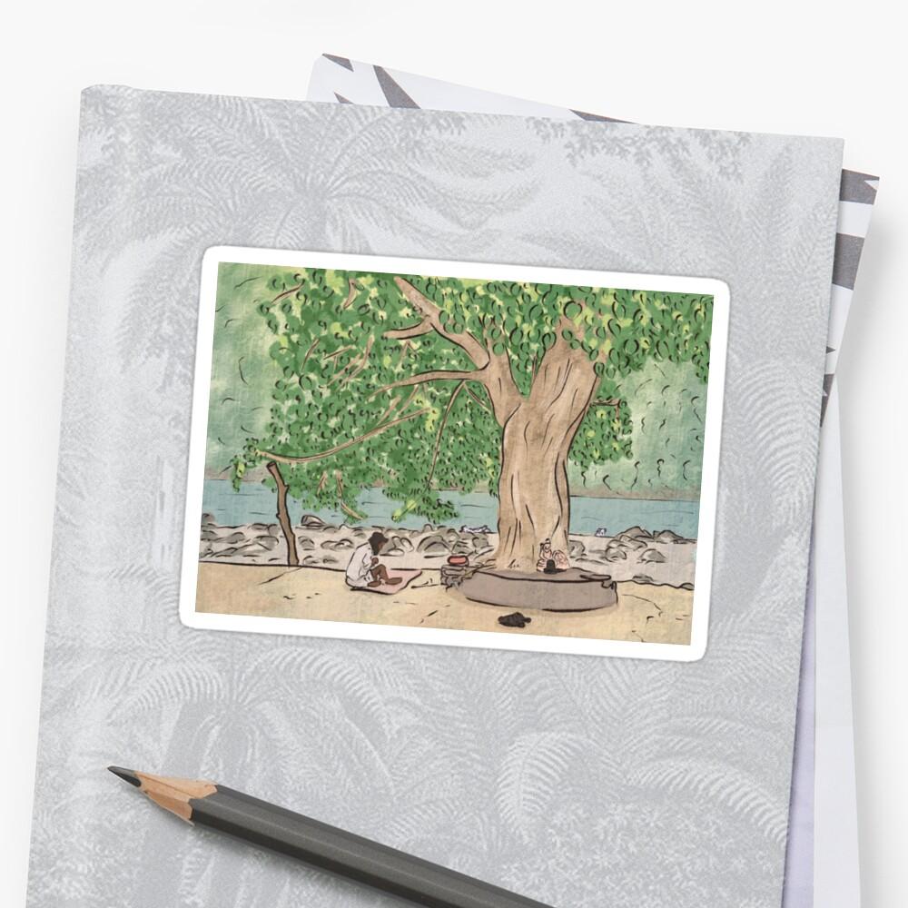 Baba sitting under a tree - Ram Jhula, Rishikesh Sticker