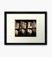 sunlight on some old shelves Framed Print