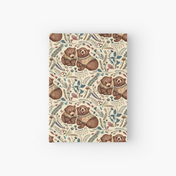 Whimsical Bear Pair with Fantasy Flora  Hardcover Journal