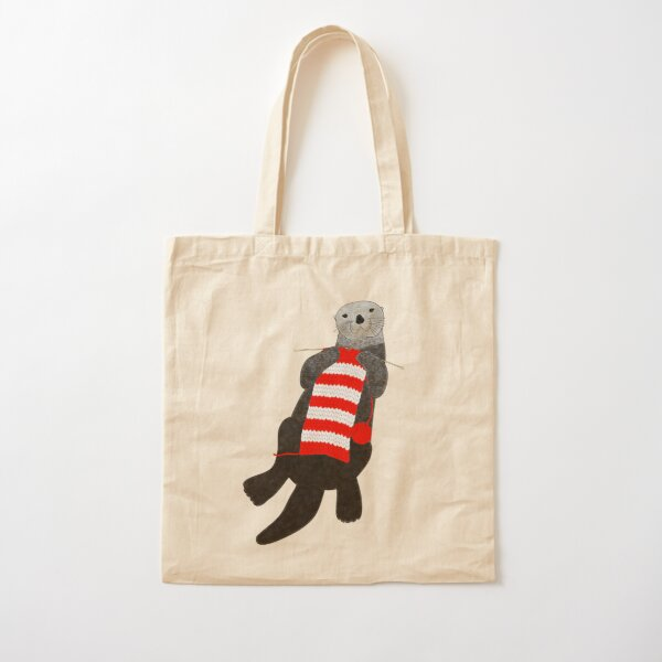 Knitting sea otter Cotton Tote Bag