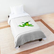 funny jumping green frog  Comforter