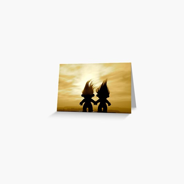 troll lovers in sepia Greeting Card
