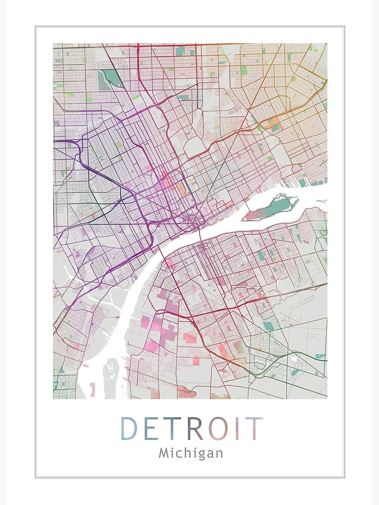 Detroit City Map Usa City Michigan Art Board Print By Theredfinch Redbubble
