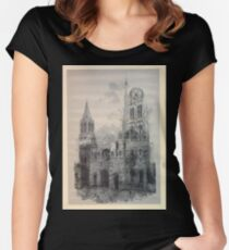 Auguste Lepère Façade of Rouen Cathedral by Auguste Lepère Women's Fitted Scoop T-Shirt