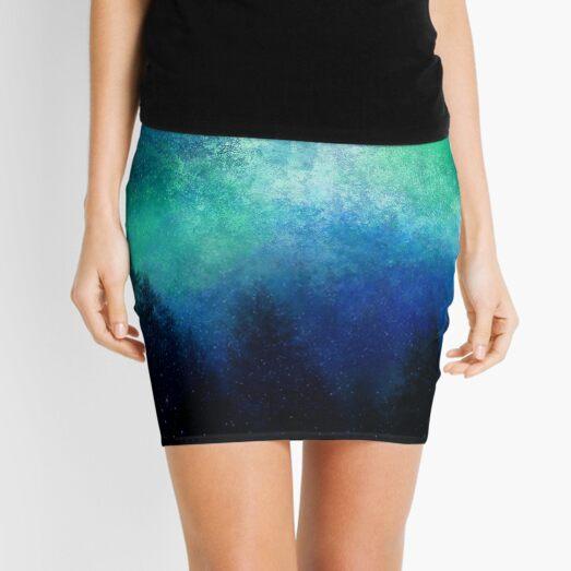 Aurora Borealis Green Night Sky  Mini Skirt