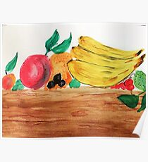 Table of Fruit, watercolor Poster