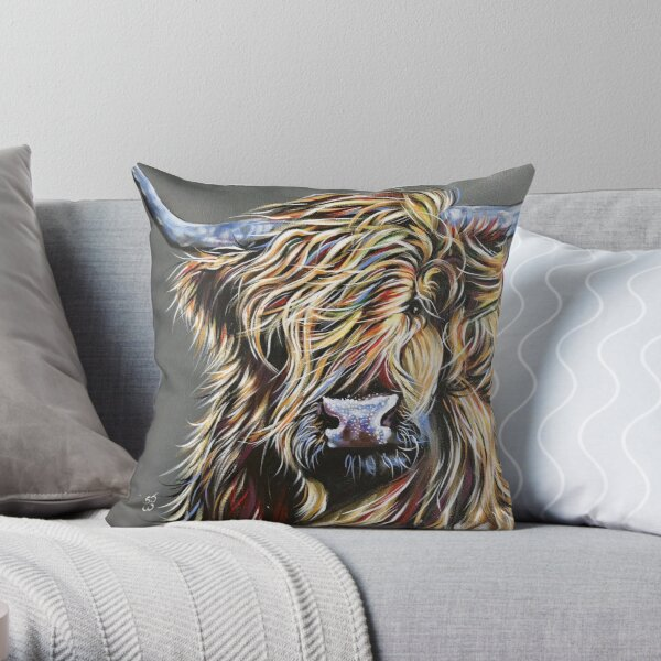 Beau the Colourful Highland Cow Throw Pillow