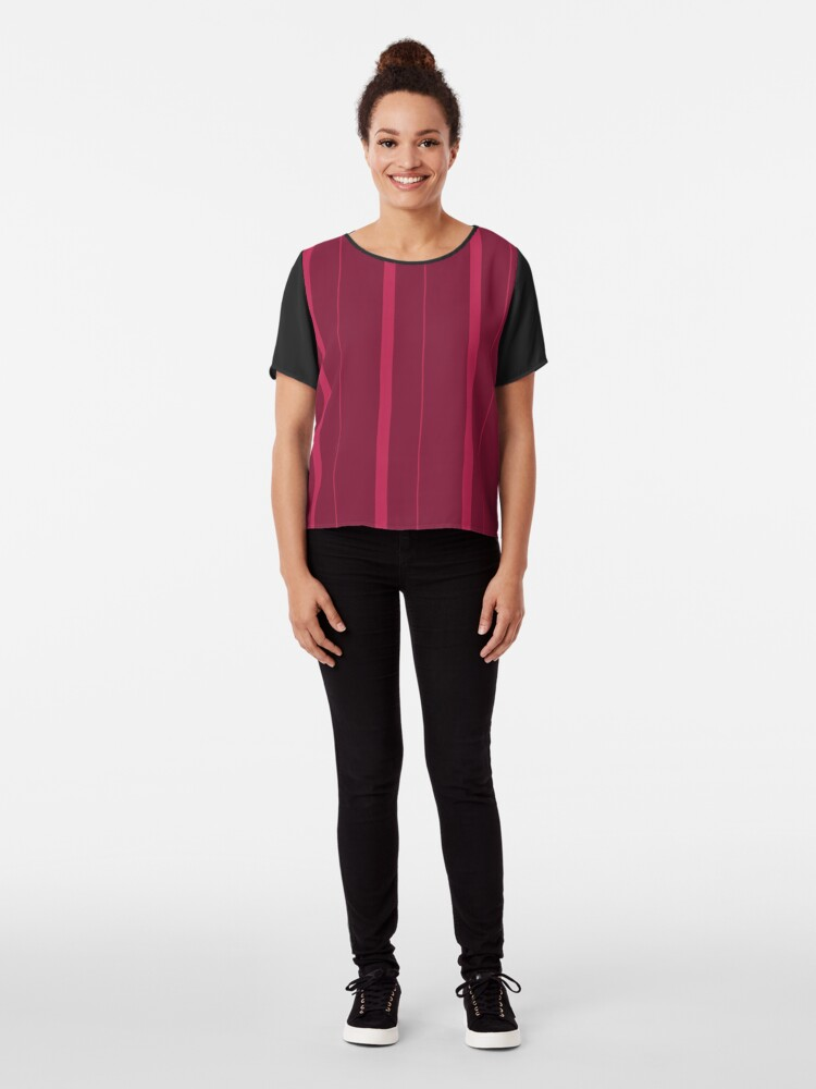 Alternate view of Shades of Dark Red Stripes Chiffon Top