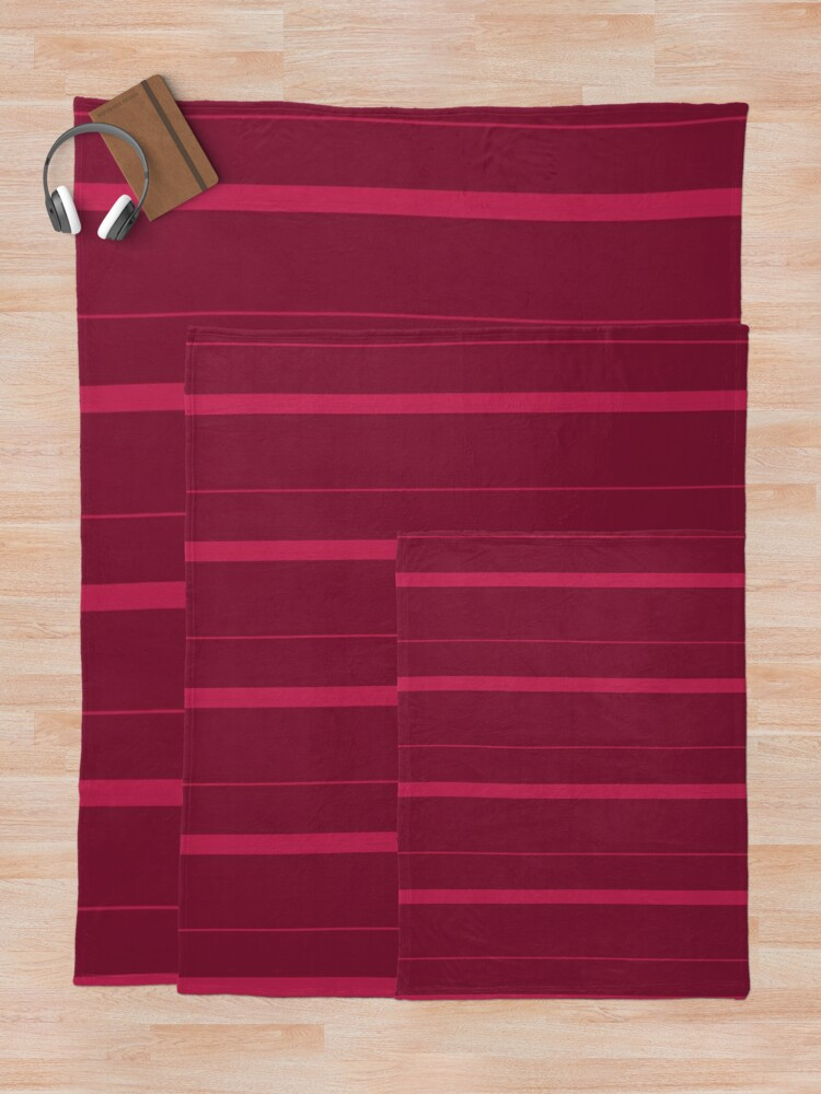 Alternate view of Shades of Dark Red Stripes Throw Blanket