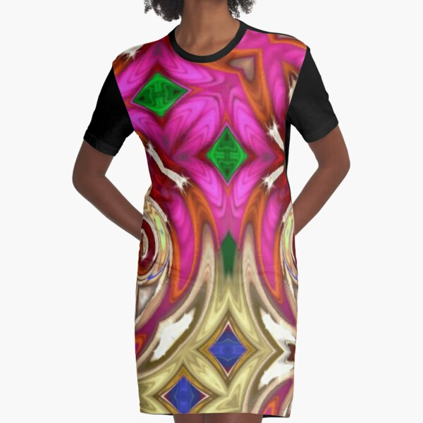 Hint of Pink Graphic T-Shirt Dress