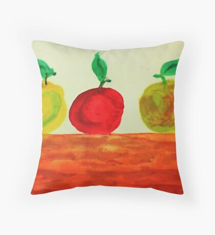 3 Apples on Table, watercolor Throw Pillow