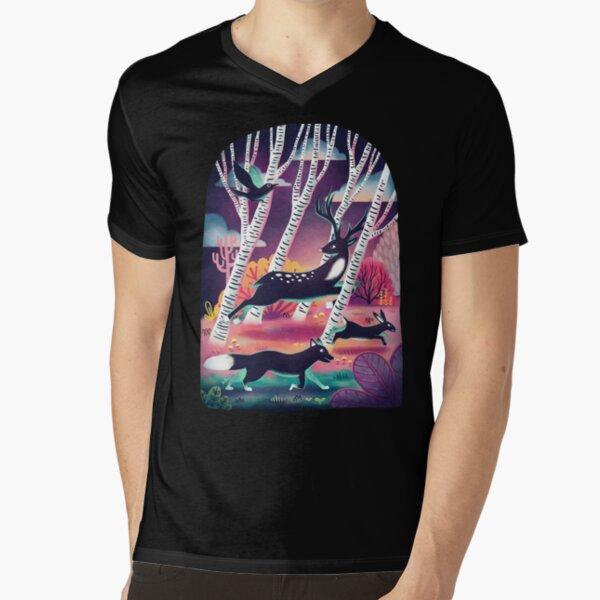 Forest Wildlife V-Neck T-Shirt