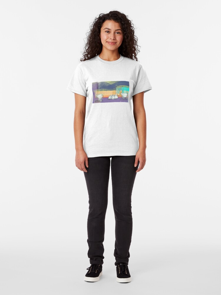 Alternate view of Colorful cows illustration, Rishikesh street Classic T-Shirt