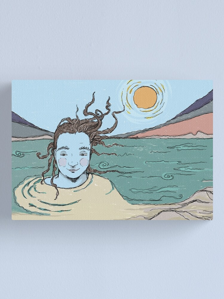 Alternate view of Woman and the Ganga river illustration Canvas Print