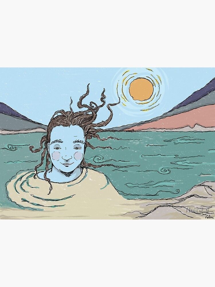 Woman and the Ganga river illustration by NaliniLe