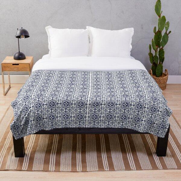 Hamptons Style Navy Blue White Moroccan Trellis Lattice Pattern Throw Blanket